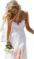 CharmingBridal Women's Spaghetti Backless Lace Beach Wedding Dresses