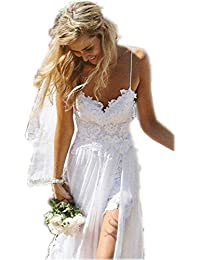 Women's Spaghetti Backless Lace Beach Wedding Dresses