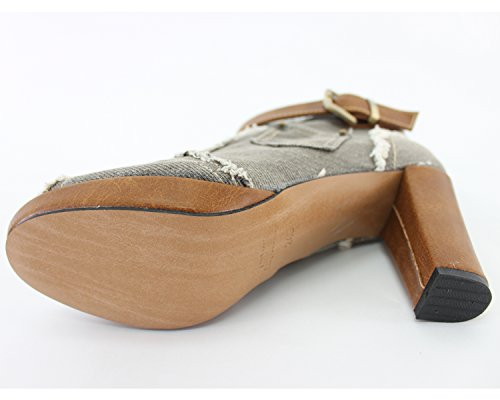 VOVOshoes 3013 Womens Blue Gray Denim Canvas Zipper High Heel High Top Wedge Shoe Boot Gray qo07S
