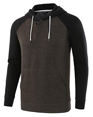 Estepoba Men's Casual Long Sleeve Henley Sweatshirt Knit Fleece Hoodie Pullover H.Charcoal/Black L