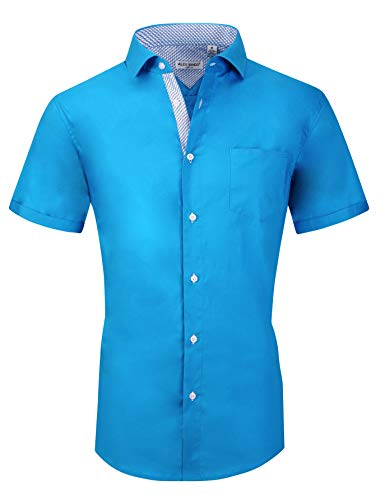 Mens Short Sleeve Dress Shirts Regular Fit Cotton Casual Button Down Shirt(Turquoise,XXLarge) ()