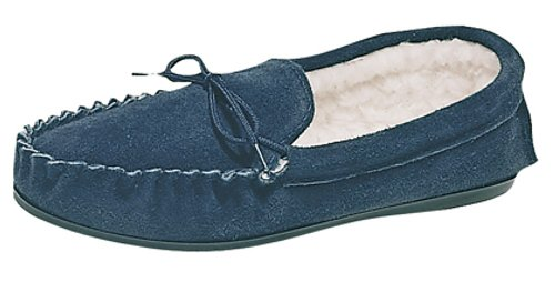 Mens MOKKERS warm lined Real Suede Moccasins with hard sole Navy qignD
