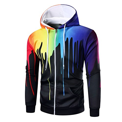 NiuZi Men's Casual Long Sleeve Hoodies Colorful Pattern Black Classic Zippered Hoodie (XXL, Black)