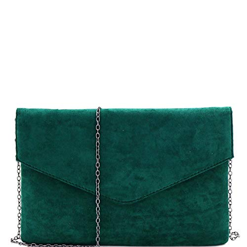 Classy Faux Suede Simple Envelope Clutch Purse with Chain Strap