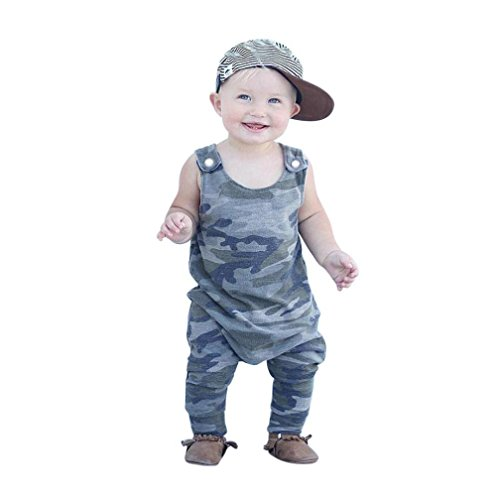 GBSELL Newborn Infant Baby Boy Girl Summer Clothes Flash Sleeveless Jumpsuit Romper Outfits (Camouflage, 0-6 Month) ()