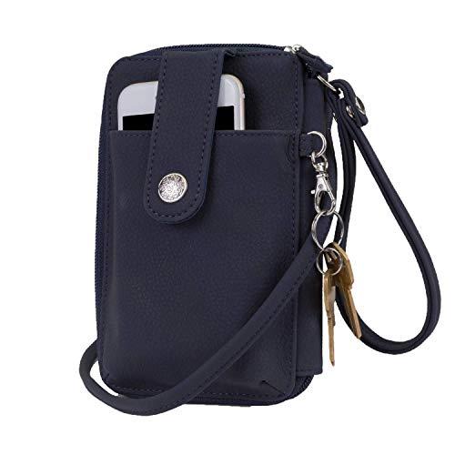 Mundi Jacqui Vegan Leather RFID Womens Crossbody Cell Phone Purse Holder Wallet (Navy) by Mundi