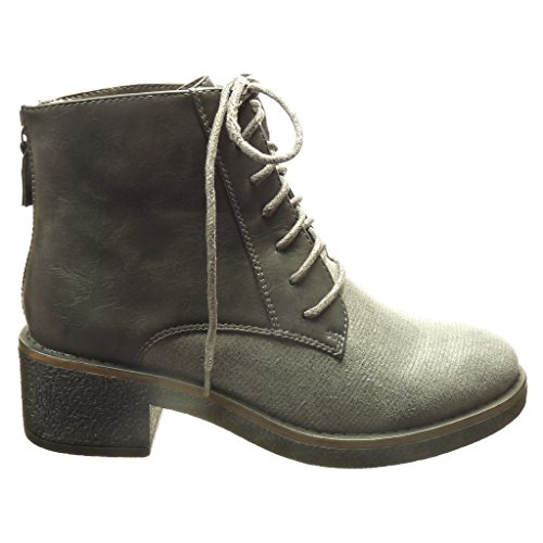 Line Heel cm Fashion Grey Boots Angkorly High Bi Ankle cm Women's High Material Booty Laces Shoes 5 Block 4 BwwHavOx