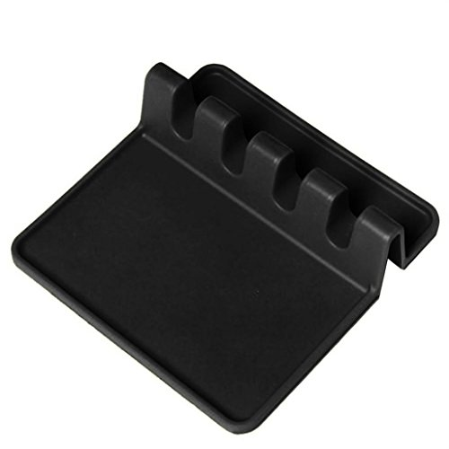 - Kitchen Utensil Rest, ICASA, Silicone Heat Resistant Ladle Fork Mat Giant Spoon Rest Ladle Spoon holder (Black)