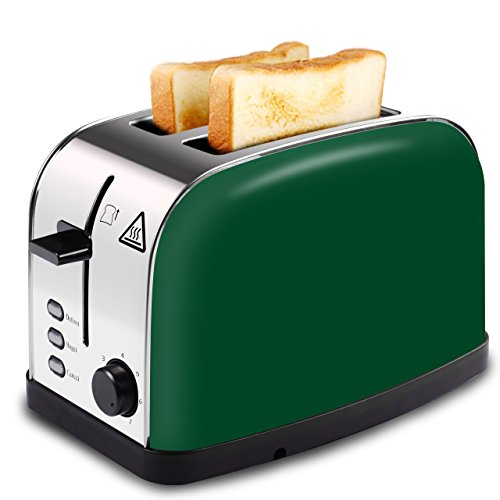 LATITOP Toaster 2 Slice with Wide Slot for Bagels Small Large Bread Slices Brushed Stainless Steel Toaster with Removable Crumb Tray 7 Shade Setting Led Indicator High Lift Lever Green