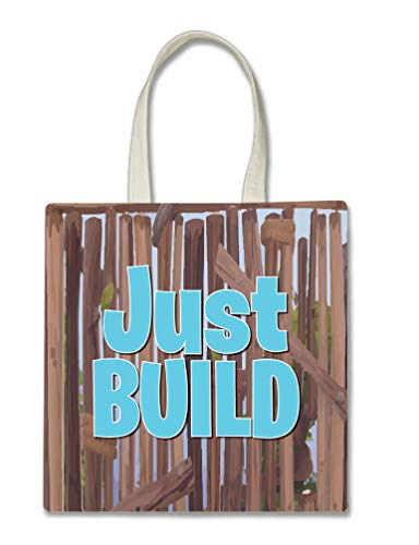 Just Build Halloween Trick Or Treat Polyester White Tote Bag 15x16x 3.5 ()
