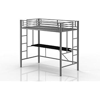 Amazon.com: Emily Premium Twin Loft Bunk Bed With Desk, Tiny House ...