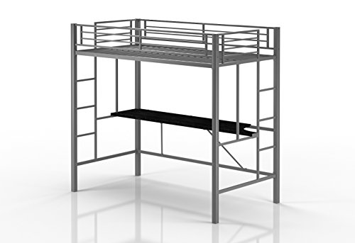 [Emily Premium Twin Loft Bunk Bed With Desk, Tiny House Style, Sturdy Metal Frame and Dual Ladders, Accomodates Twin Size Mattress (Silver)] (Metal Dorm Loft Beds)