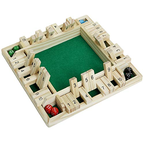 4-Player Shut The Box Dice Game - 4 Sided TbaWooden Board Game (2-4 Players) for Kids - Classics Table Game for Learning Numbers