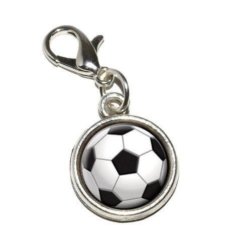 Graphics and More Soccer Ball Sporting Goods Sportsball Antiqued Bracelet Pendant Zipper Pull Charm with Lobster Clasp