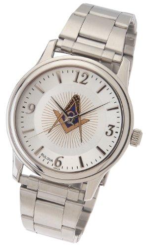 Men's Stainless Steel Bulova Masonic Blue Lodge Watch Stainless Steel Masonic Watch