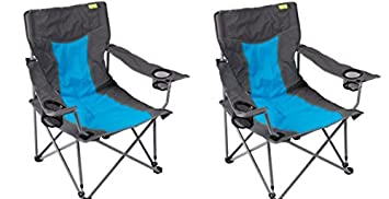 Kampa 2 X Cocktail De Plage Pliante Chaise Basse Bleu Amazon Fr