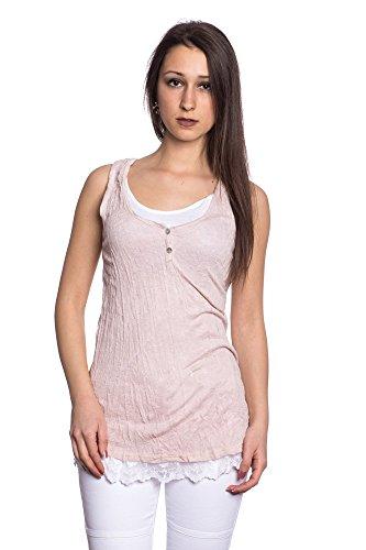 Abbino 8429 Basics Tops Camisetas Sin Mangas para Müjeres - Hecho en ITALIA - 8 Colores - Camisas Entretiempo Primavera Verano Otoño Fiesta Elegantes Fitness Rebajas Algodón Rosa