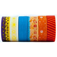 6 Rolls of colorful Washi Tape Masking Decorative Paper – Beach, Sun, Sand, Stripe, Blue, Red, Orange, Yellow, For Art, Gift Wrapping, Scrapbooking and More - (15mm x 10m) - Sunny Beach by Washi.Design