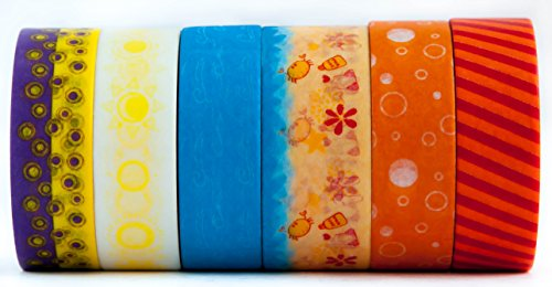 6-rolls-of-colorful-washi-tape-masking-decorative-paper-beach-sun-sand-stripe-blue-red-orange-yellow