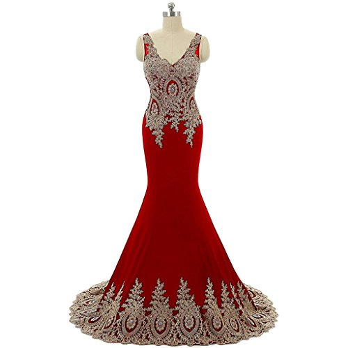 Perles Sirène Femmes Dreamdress Robes De Soirée Longue Fête V-cou Rouge Formel