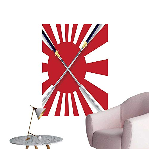 """Wall Stickers for Living Room Sun spired Japan Flag L NATI al Warrior Swords Red White Vinyl Wall Stickers Print,28""""W x 52""""L"""