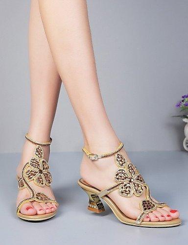 ShangYi Women's Shoes Leather Chunky Heel Heels Sandals Party & Evening / Dress / Casual Black / Gold Black 9MopnuPq3
