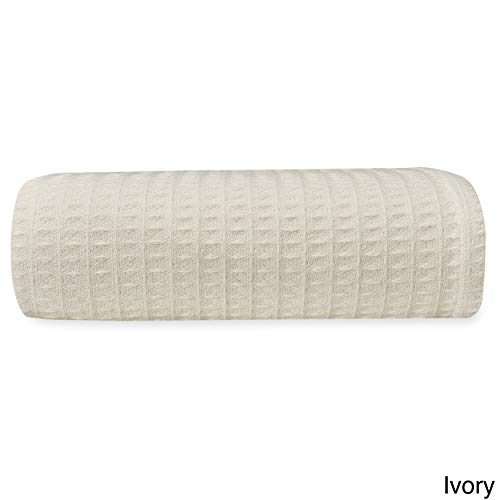 Single Piece King Ivory Woven Waffle Weave Blanket, Solid Color Pattern, Knit, Cotton Material, Contemporary Classic Style, Pliable & Comfortable, Self-Binding Edging, Machine Washable, Light Cream (Waffle Bedspread Weave)