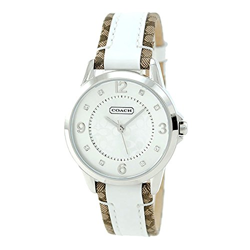 Coach Womens Classic 14501619 Signature Strap White Dial Watch ()