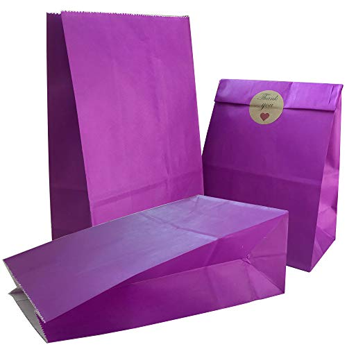 Party Bag 50 pcs Food Safe Kraft Paper and Ink, Natural (Biodegradable), Vivid Colored Candy Cookie Buffet Bags, Bottom Square Bag.Purple.with 48 pcs Thank You Stickers 1.5 inch.]()