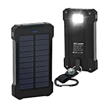 Ecandy Portable 10000mAh Solar Battery Charger Waterproof Dustproof Shockproof Power Bank Dual USB Port with LED Lighting and SOS Function for iPhone Samsung iPad Tablet (Black)