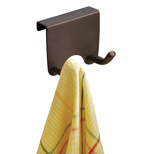 mDesign Over-The-Cabinet Kitchen Storage Double Hook for Dish Towels, Pot Holders - Bronze (Pot Double Rack Hook)
