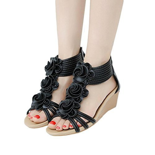 vermers Clearance Deals Fashion Women Sandals - Summer Flower Wedges Shoes Girl Roman Sandals(US:5, Black)