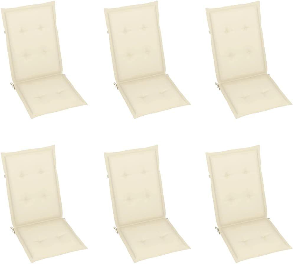 vidaXL 6X Cojines para Sillas de Jardín Asiento Tumbona Patio Terraza Balcón Exterior Acolchado con Respaldo Alto Decoración Crema 120x50x4cm