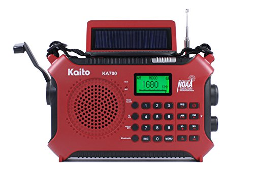 Kaito KA700 Bluetooth Emergency Hand Crank Dynamo & Solar Powered AM FM Weather NOAA Band Radio With Recorder and MP3 Player - Rugged Design for Hiking, Camping, Construction Sites, Etc.(Red) by Kaito