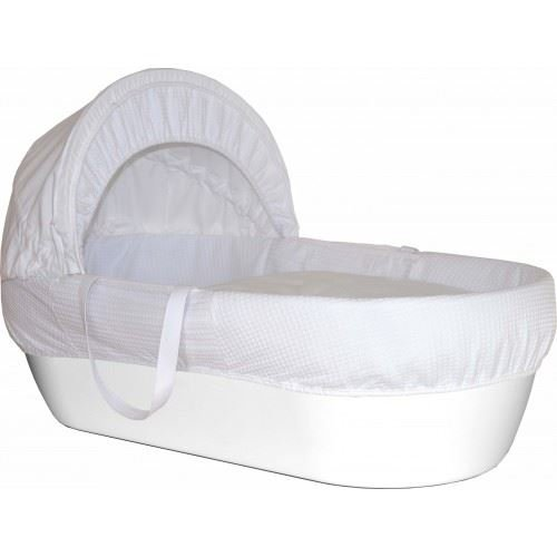 Shnuggle Basket Pure White With White Waffle Cosy Quilt (Dispatched From UK)