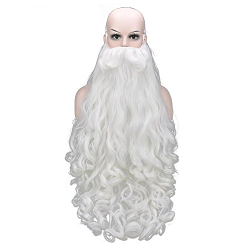 Santa Claus Christmas Wig Synthetic Hair Curly and Beard Set White Curly Wavy Shoulder Length Wig for Christmas Costume Cosplay Party, 80cm Beard (Santa Claus Hair And Beard)