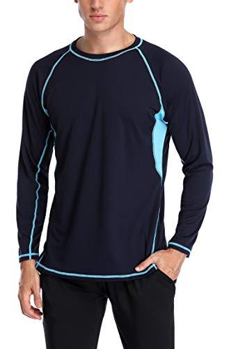 (ATTRACO Men's Rash Guard Swim Shirt Long Sleeve Cool Stretch UV Shirt Navy Large)