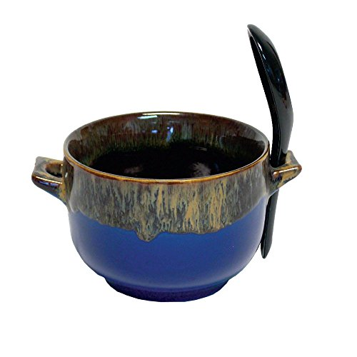 Rockin Gear Bowl and Spoon Combo - Ceramic Glazed Art Deco Soup, Cereal and Rice Bowl (Blue)