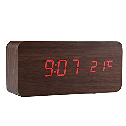 Digital Clock, [Rectangular Wooden Series] Voice Sound Activated Wood LED Digital Alarm Clock [Temperature Display] Powered By USB/AA Battery Perfect for Bedroom Travel Rectangular Brown Wood & Red LED Lights