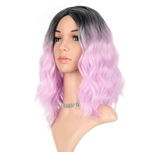 Curly Wave Wig Short bob Wigs Shoulder Length Women's Short Wig Synthetic Cosplay Wig Pastel Bob Wig for Girl Costume Wigs ombre light pink color