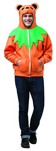 Hoodie Grateful Dead Orange Bear Adult Costumes - Rasta Imposta Grateful Bear Hoodie, Orange/Green/Black,