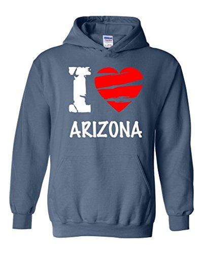 Artix I Love Arizona - Most Popular State Series Unisex Hoodie Sweatshirt Medium Indigo Blue