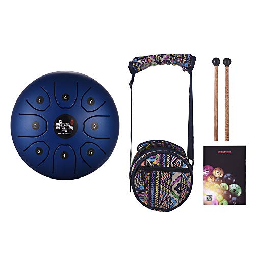 Muslady 5.5 Inch Mini 8-Tone Steel Tongue Drum C Key Percussion Instrument Hand Pan Drum with Drum Mallets Carry Bag ()
