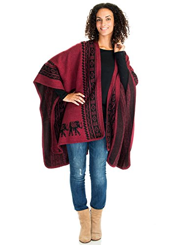 (Ladies/Women's Fashion Trendy Elephant deco Blanket Poncho Cape Cardigan Coat (One Size, Burgundy))