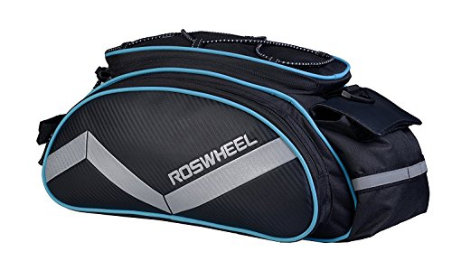 Bicycle Rear Seat Trunk Bag with Should Strap, Blue