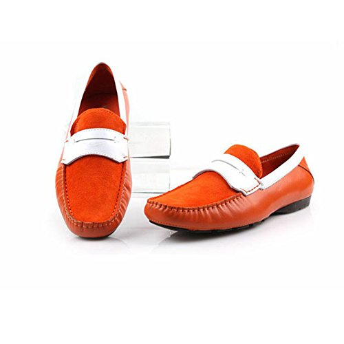 Santimon-Men Male Comfortable Soft Genuine Leather Backless Slippers Leisure Slip-on loafters Slippers Shoes-Orange-40