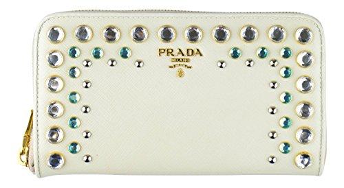 PRADA Ivory Saffiano Leather Rhinestone Stud Embellised Wallet