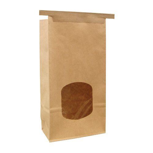 - Bagcraft Papercon 300249 - 1 Pound Kraft Windowed Coffee Bag with Ties - 500 per case
