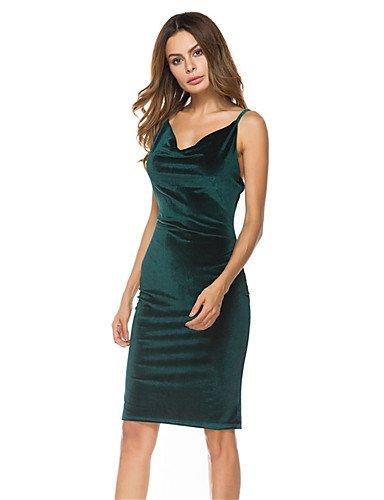 V Mangas Micro Fiesta Vestido Sin Mujer Green JIALE3536 Mujer De Fiesta Elástica De Cuello Vestido Delgada Fiesta q7w6vCx6