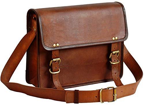 Price comparison product image jaald Genuine Leather Messenger Bag Laptop Briefcase Satchel Mens Shoulder Bag